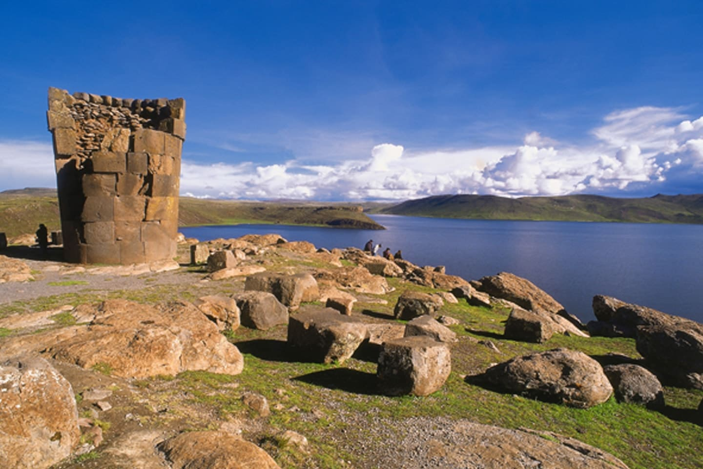 located on the shore of Lake Titicaca and the mountains surrounding the city.